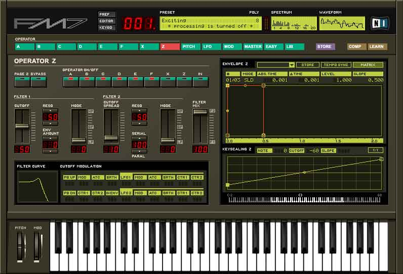 Screen shot of filter section FM-7 software synthsesizer