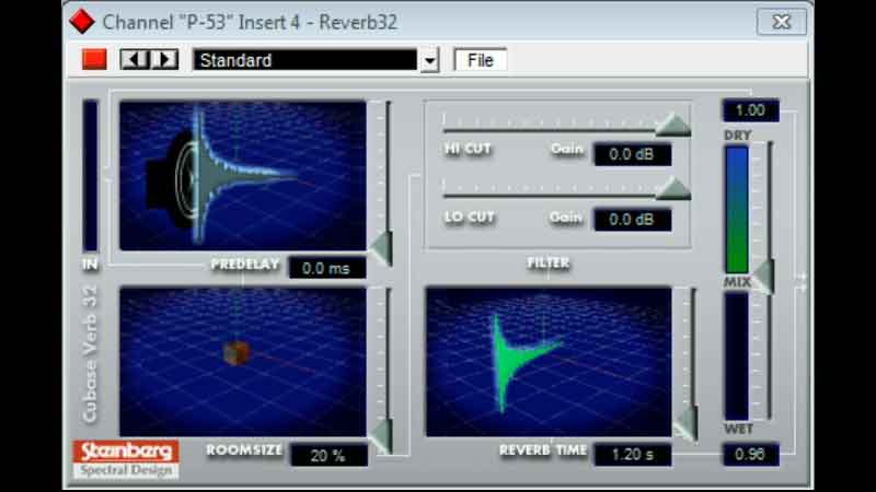 Screen shot of Steinberg(Spectral Design) Reverb 32 plugin