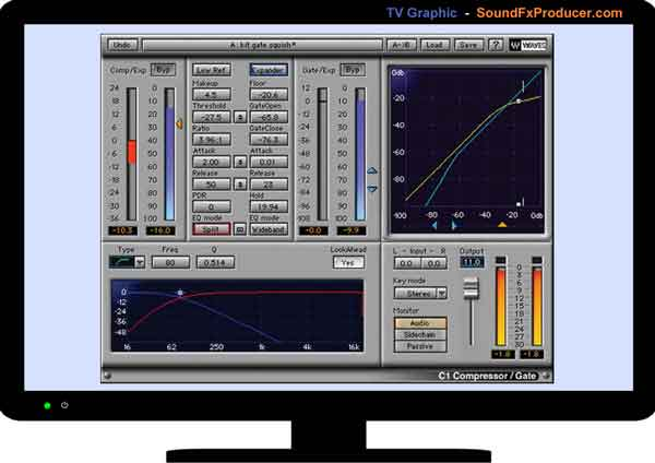 TV graphic showing Waves C1 Compressor/Gate