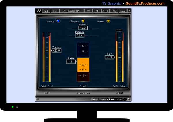 TV graphic showing Waves Renaissance Compressor