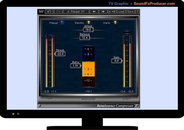 TV graphic showing Waves Renaissance Compressor