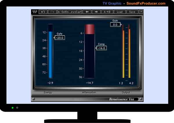 TV graphic showing Waves Renaissance Vox Compressor